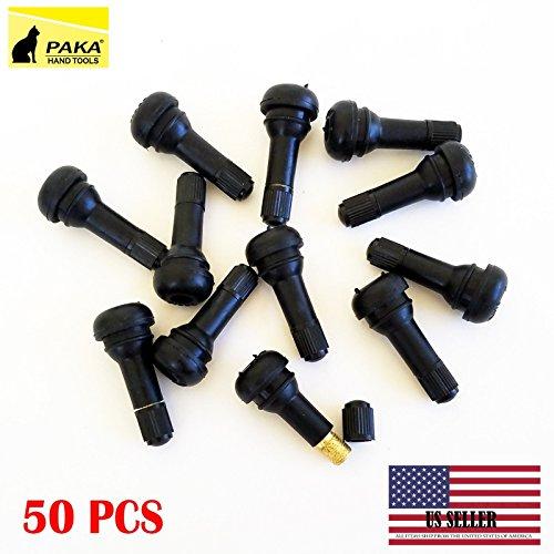 PAKA TOOLS 50 pcs - TR 413 Snap-in Tire Valve ZINC Stems Short Black Rubber (50)