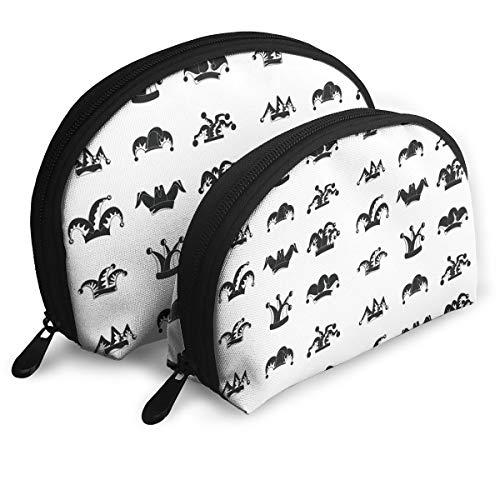 Charm Trend Mardi Gras Carnival Jester Hat Travel Makeup Bag Half Moon Cosmetic Pouch Multifunctional Train Case Pencil Case Handy Toiletry Clutch/Purse/Organizer Kit for Women Set of 2 -