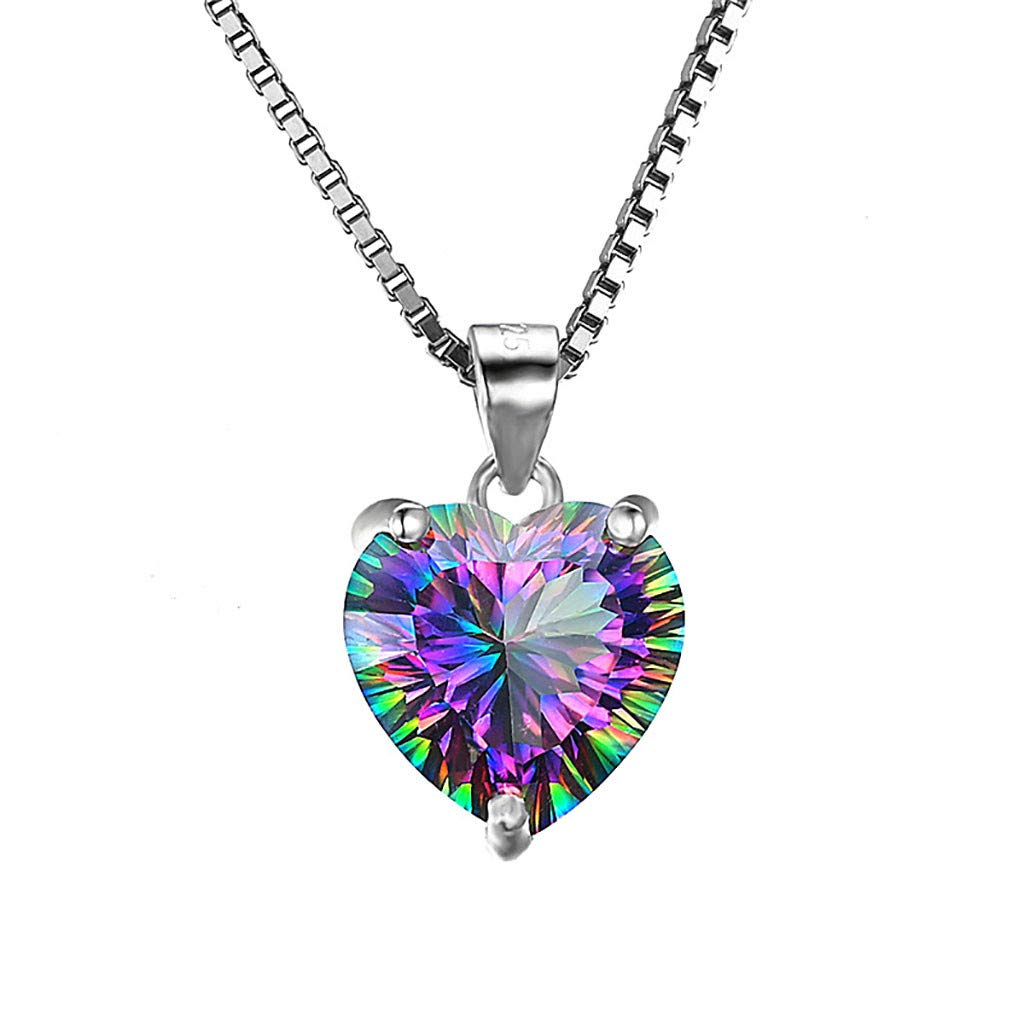Toponly Herringbone Pendant Micro-Inlay Necklace My Heart Zircon Copper Plated Jewelry Anniversary