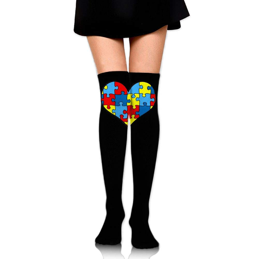 Girls Womens Autism Awareness Heart Over Knee Thigh High Stockings Cute Cosplay Socks One Size
