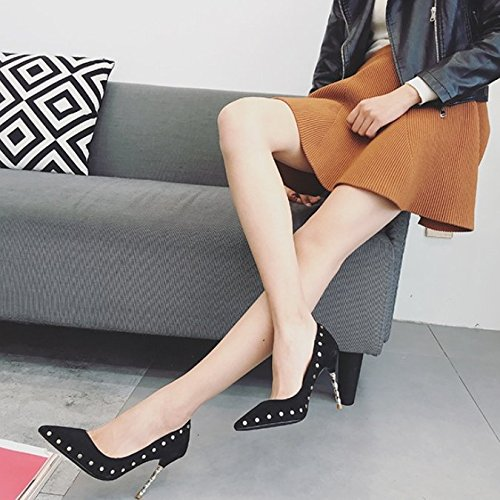 Leisure Spring Shoes Banquet Elegant Shallow Sharp MDRW 9Cm Lady Rivets Black Shoes Heels Mouth Shoes Work Heels Single 36 Suede Women'S Fine xwt6wazIqn