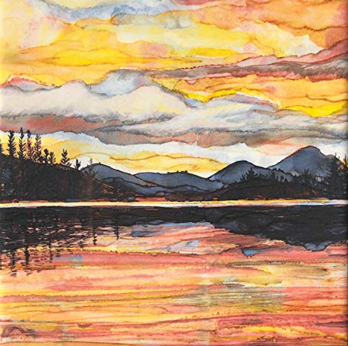 (Lake Sunset Ceramic Tile - Indoor and Outdoor Use, Home Decor Decorative Tile)