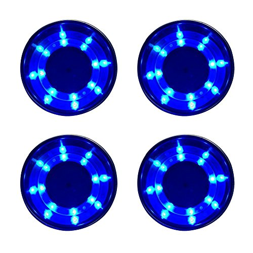 4 Pieces LED Stainless Steel Cup Drink Holder with Drain & LED Marine Boat Rv Camper (Blue) ()