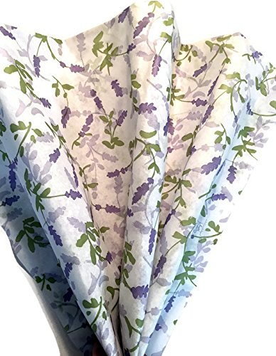 French Lavender Printed Tissue Paper for Gift Wrapping, 24 Sheets by Rustic Pearl Collection