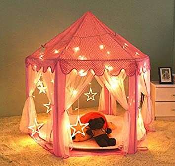 Amazon.com: InnoFun Indoor Kids Princess Castle Play Tent,Pink ...