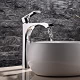 10 inch Single Handle Bathroom Vessel Sink Faucet Waterfall Basin Mixer Tap, Chrome, WITHOUT SINK