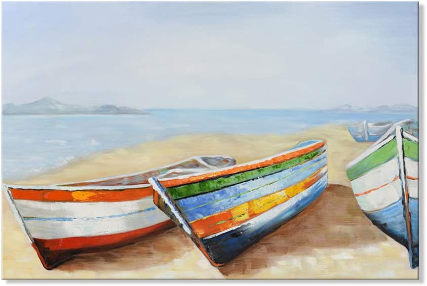 JAPO ART Modern Boat Ship Paintings Canvas Wall Art Seascape Resting Fishing Boats Ships Wall Decor for Living Room Bedroom Wrapped Easy to Hang 36x24 Inch