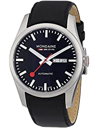 'SBB' Quartz Stainless Steel and Leather Casual Watch, Color:Black (Model: A132.30345.14SBB)