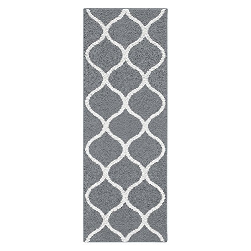 Maples Rugs Runner Rug, [Made in USA][Rebecca] 1'9 x 5' Non Slip Hallway Entry Area Rug for Living Room, Bedroom, and Kitchen - Grey/White