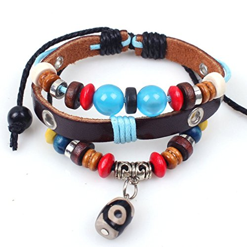 iVan Boys / Girls Fashionable Vintage Braided Leather Wax Rope Beaded Elegant Alloy National style Charm (2)