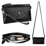 YALUXE Women's RFID Blocking Security Leather Wristlet Wallet Small Mini Size Crossbody Bag Black