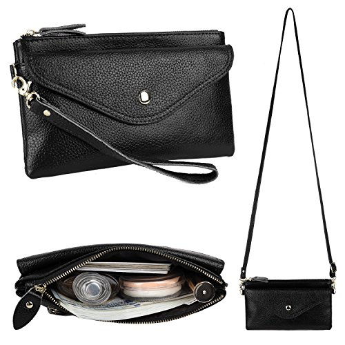 YALUXE Womens RFID Blocking Security Leather Wristlet Wallet Small Mini Size Crossbody Bag Black