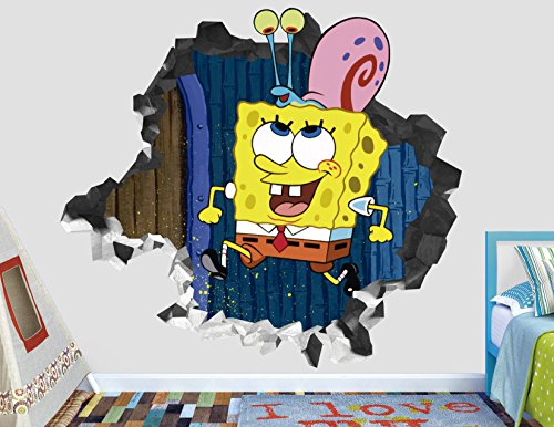 Sponge Bob Gary Wall Decal Smashed 3D Sticker Vinyl Decor Mural Kids - Broken Wall - 3D Designs - AH131 (Large (Wide 40