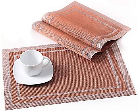 Napperons Rectangulaire Lavable 6 Pcs Set de Table Plastique PVC Tapis de Table Antid/érapant LOVECASA R/ésistant /à la Chaleur