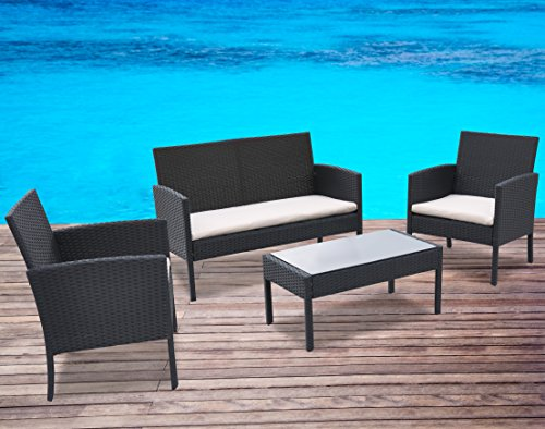 Radeway¨ 4 PCS Outdoor Garden Patio Rattan Furniture Sets New Beige Cushioned Seat Black Wicker