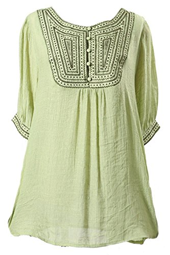 (Asher Women Linen Shirts Embroidered Tunic Peasant Tops (One Size, Green))