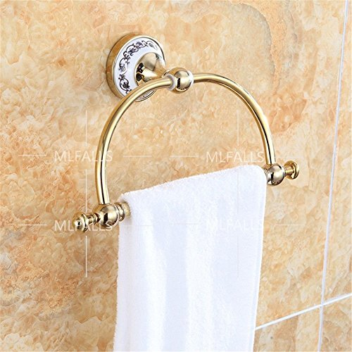 Bathroom accessories retro luxury copper plus ceramic gold-plated wall-mounted, towel ring by bathroom-accessories FUNUAN (Image #1)