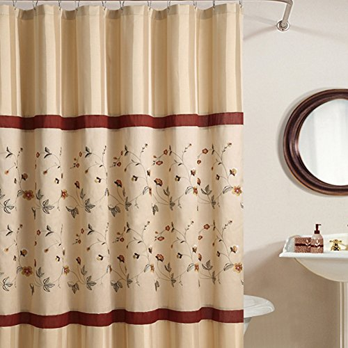 DS BATH Veronica Floral Shower Curtain,Mildew Resistant Fabric Shower Curtain,Stripe Shower Curtains for Bathroom,Print Bathroom Curtains,Flower Waterproof Shower Curtain,78