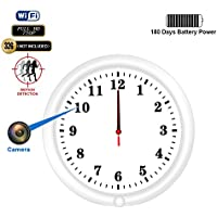 WiFi Hidden Camera Wall Clock Recorder Fuvision with Camera Lens Adjustable Motion Detect and Remote Live View Built-in 5000mah Battery for 180 Days Recording Standby Time Mini Home Security Camera