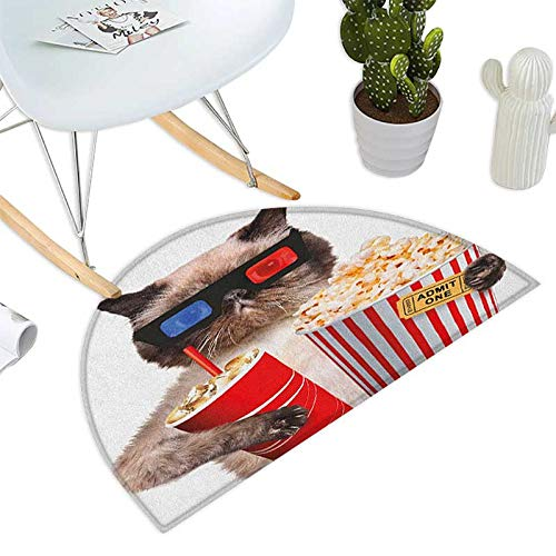 Movie Theater Semicircular Cushion Cat with Popcorn and Drink Watching Movie Glasses Entertainment Cinema Fun Entry Door Mat H 31.5'' xD 47.2'' Multicolor by homehot (Image #1)