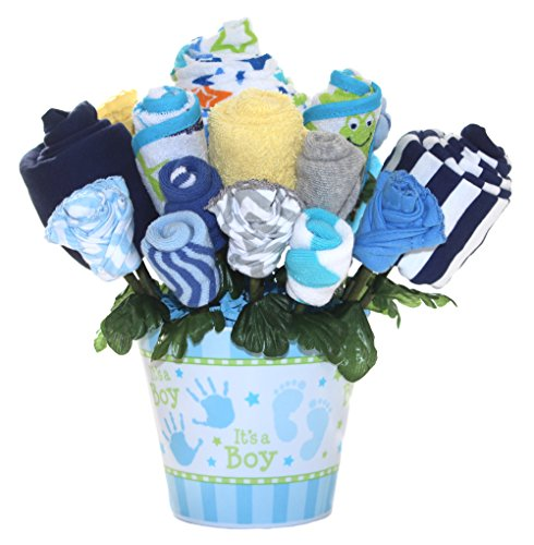Baby bouquet made with baby clothes and accessories / Baby shower gift / Practical newborn gift for parents to be / New baby gift idea (Boys - Blue)