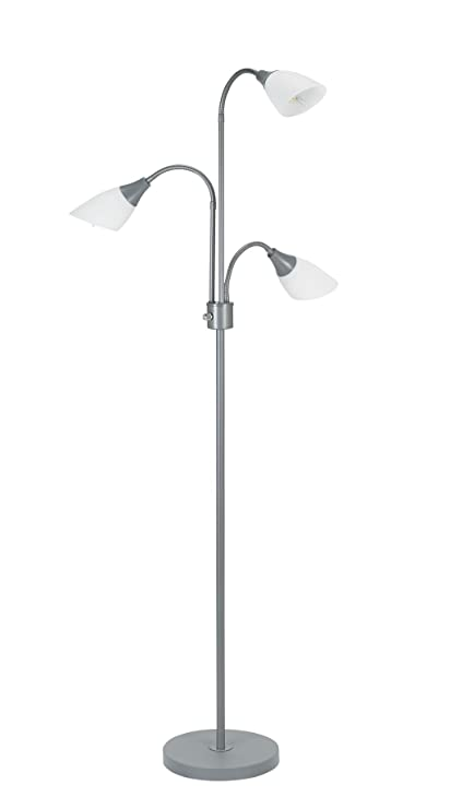 promo code 7f69e ff55c Catalina Lighting Medusa 3 Floor Lamp with Adjustable Lights, Silver Base  with White Shades, 20743-000