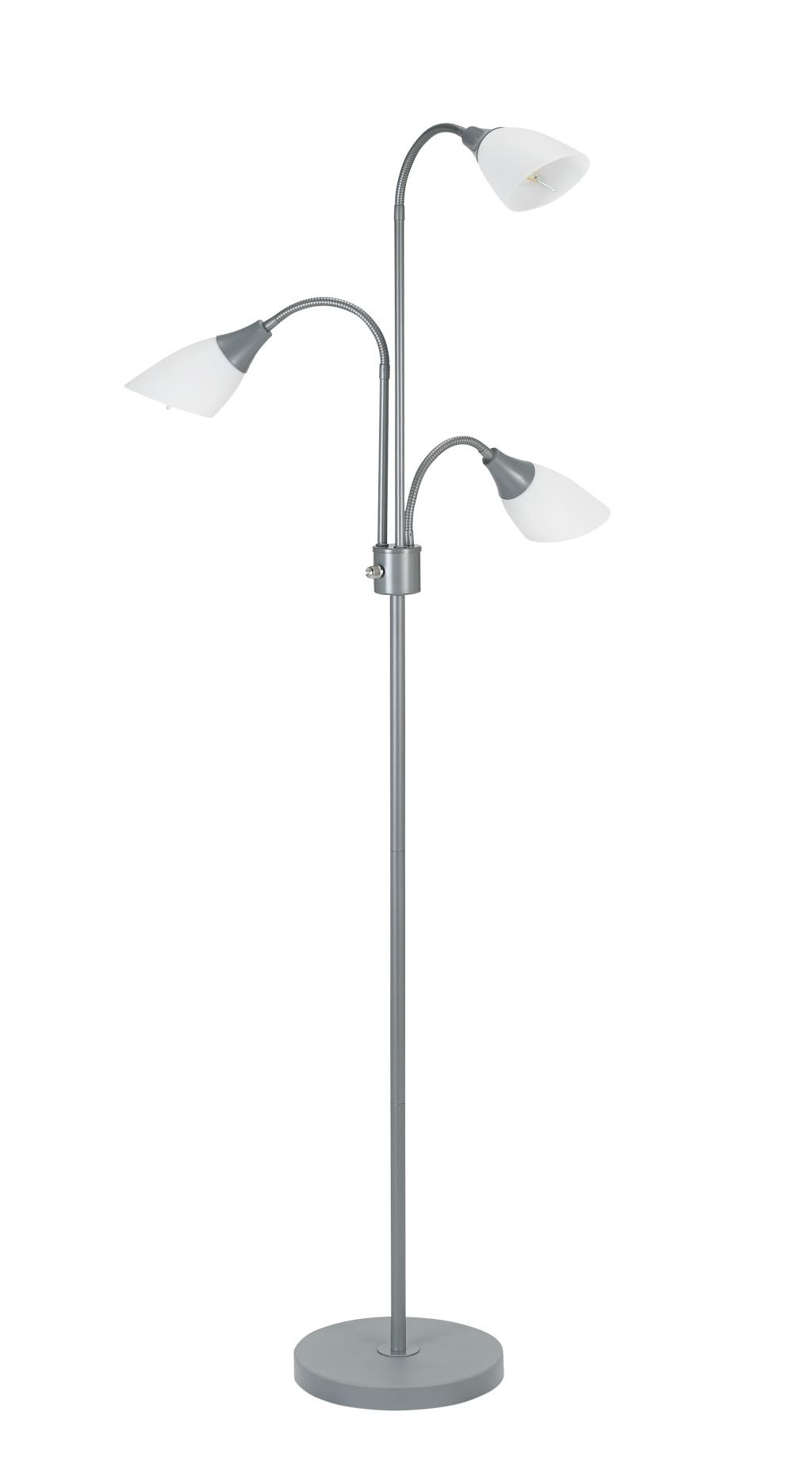 CDM product Catalina Lighting Medusa 3 Floor Lamp with Adjustable Lights, Silver Base with White Shades, 20743-000 big image
