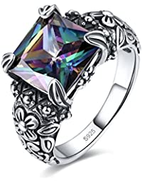 Antique Style Womens 925 Sterling Silver Created Mystic Rainbow Topaz Floral Band Ring