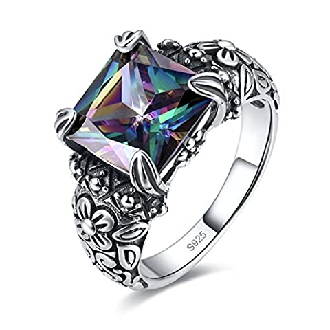 Merthus Antique Style Womens 925 Sterling Silver Created Mystic Rainbow Topaz Floral Band Ring (Antique Ring Band)