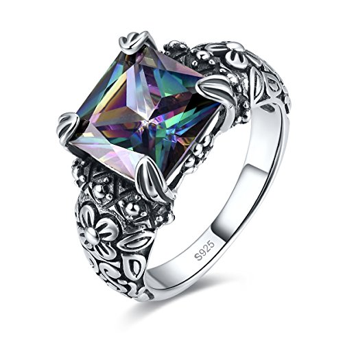 (Merthus Antique Style Womens 925 Sterling Silver Created Mystic Rainbow Topaz Floral Band Ring)