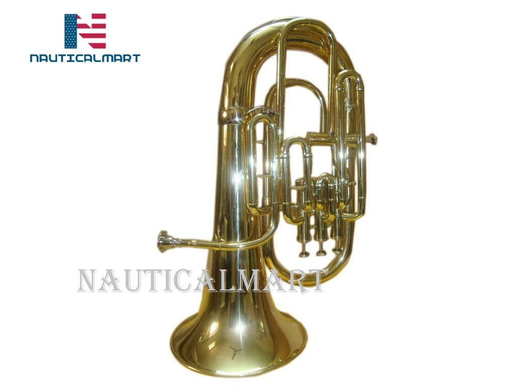 Bb/F 4 Valve Flat Brass Finishing Euphonium With Free Hard Case+M/P by NAUTICALMART