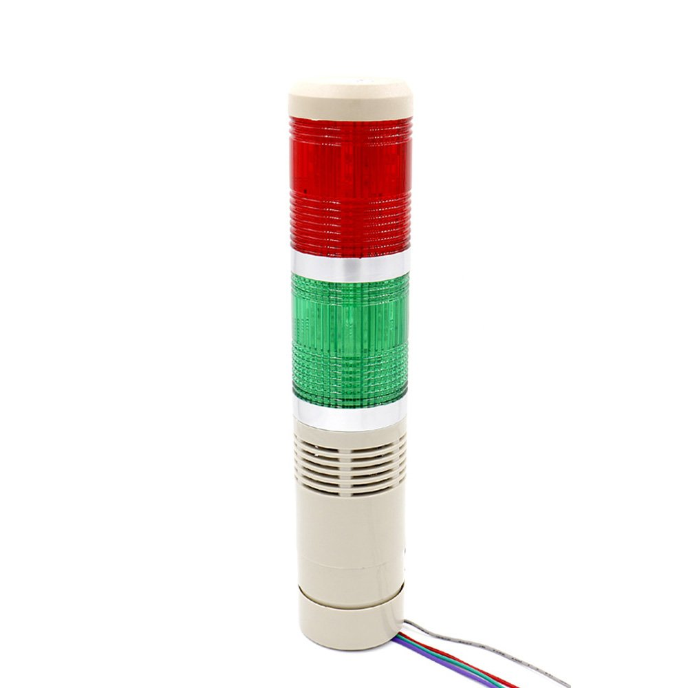 Baomain Industrial Signal Light Column LED Alarm Round Tower Light Indicator Continuous Light Warning light Buzzer Red Green DC 12V