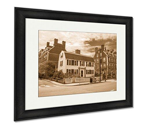 Ashley Framed Prints John F Kennedy Street In Harvard University Area Of Cambridge, Modern Room Accent Piece, Sepia, 34x40 (frame size), Black Frame, - Street A Frames Ma Cambridge
