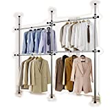 Goldcart 38mm Diameter Pole Long Crossbar Portable Indoor Garment Rack Tools-free DIY Coat Hanger Clothes Wardrobe 3 Poles 4 Bars. 90kg Loading per Bar. Free Reach Hook. Space Fit and Saver.[3804]