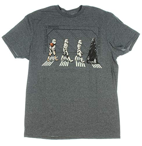 Star Wars Death Star Road Stormtrooper Crossing T-Shirt (Small, Charcoal Heather)