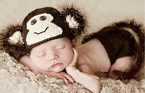 Matissa Newborn Baby Girl/Boy Crochet Knit Costume Photo Photography Prop Hats Outfits (Little Monkey)