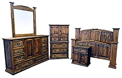 Dark stain real pine wood mansion style bedroom set. Multiple sizes BY LUXURY RUSTIC. Bed, Dresser, Mirror, Chest, 2 Nightstands.