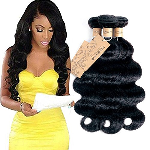 Human Hair 3 Bundles 18 20 22in 300g Body Wave 7A Grade Brazilian Virgin Remy Human Hair Weaves Extensions Natural Black by MONIKAHAIR (Indian 22 Remy Inch Hair)