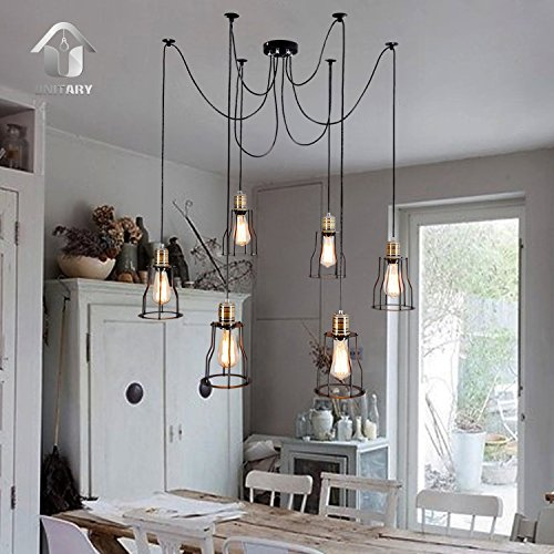 WINSOON Modern 6 Heads Pendant Ceiling Lamp Lighting Without Bulb for Kitchen Island Living Room Painted ()