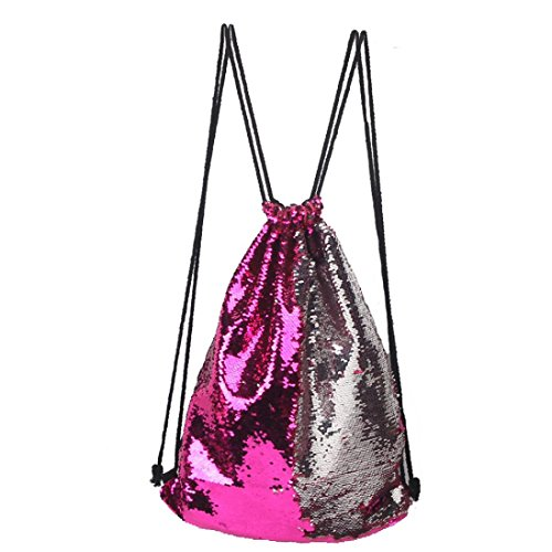 Dance Sequin - Drawstring Backpack, Doinshop Dancing Gym Sport Bag Travel Fashion Sequins Mermaid Magical Color Changing GymSack (18X14 inch, Silver & Wine Red)