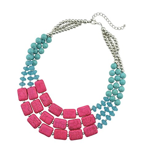 Bocar Statement Strand Turquoise Colorful Chunky Necklace for Women Gifts (NK-10268-turquoise+light rose)