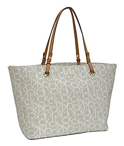 available best selection of bright n colour Calvin Klein Purse Handbag Signature Logo Large Tote Almond ...