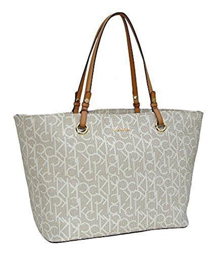 72e080cdfc6 Calvin Klein Purse Handbag Signature Logo Large Tote Almond/Khaki/Camel:  Handbags: Amazon.com