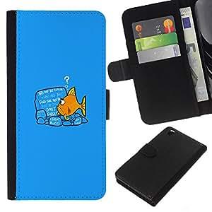 Stuss Case / Funda Carcasa PU de Cuero - Funny Goldfish Fish - HTC DESIRE 816