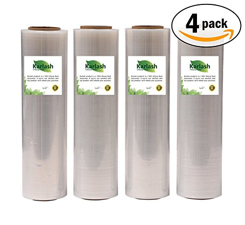 Karlash Shrink Wrap 4 Pack (4000 ft X 18, 80 Gauge): Stretch Film Plastic Wrap - Industrial Strength Hand Stretch Wrap, 18'' x 1,000 FT Per Roll, 80 Gauge Shrink Film/Pallet Wrap – Clear by Karlash