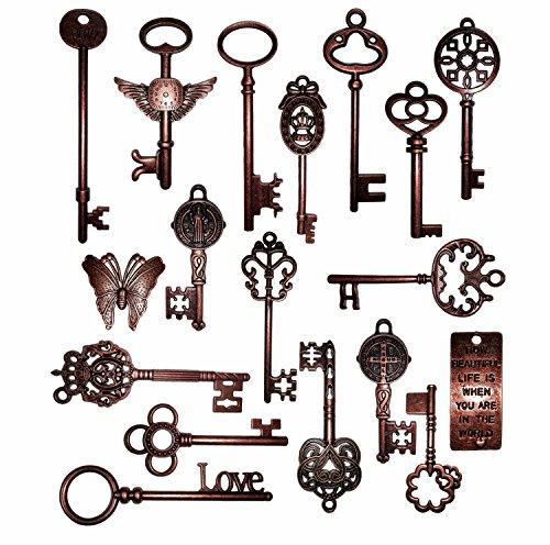 KINGREE Vintage Skeleton Keys Charm Set in Antique Copper Pack of 18 Keys, 18, No Repeat (Copper)