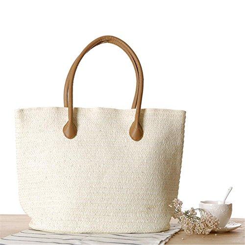Paja Beach Bolsa Bolsa de blanco de Grande Summer Grande Zipper Tote Straw para Bag Holiday Playa Cremallera de Bolso A Straw Mujer Yunn Playa con xFv0Ft