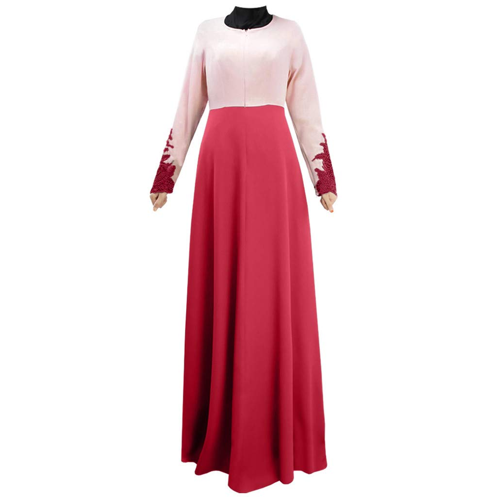 ZOMUSAR 2019 Muslim Single Layer Long Skirt Cuffs Lace Color Matching Hui Worship Service Red