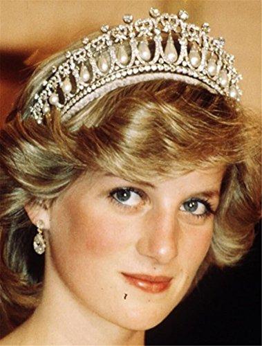 Lefox Wedding Bridal Crystal Pearl Headband Crown Tiara Diana Hair Accessories Silver#23