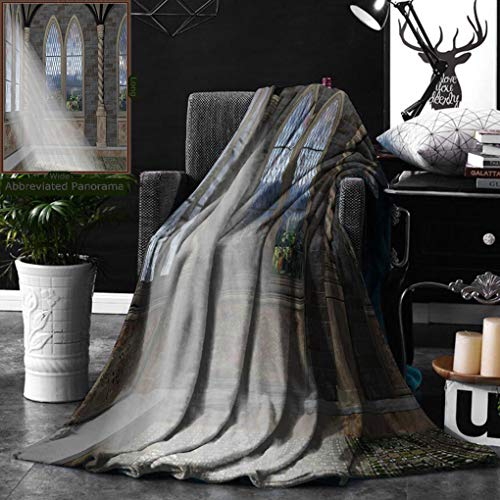 Unique Custom Digital Print Flannel Blankets Fantasy Crepuscular Rays Streaming Through Stained Glass Window Ancient Palace Cas Super Soft Blanketry for Bed Couch, Throw Blanket 40 x 60 Inches ()